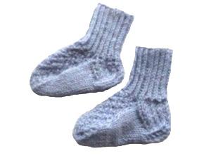 Носочки вязаные голубые, 100% мериносовая шерсть длина стопы 6 см, 7 см