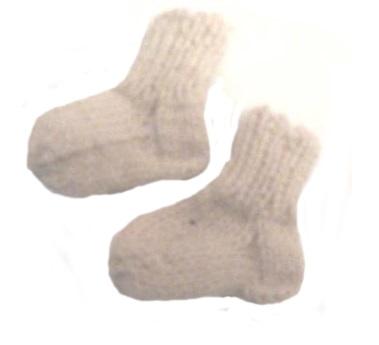 Носочки вязаные белые, 100% мериносовая шерсть, 6 см, 7 см, 8 см