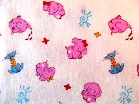 """Пеленка фланель """"слоники розовые"""", 120х90 см"""