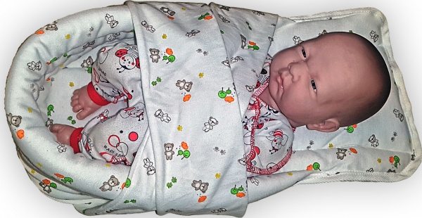 Гнездо голубое  для недоношенных детей из интерлока с лямками, 1-2 кг