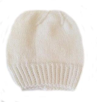 Шапочка вязаная белая 100%  мериносовая шерсть 38 см, 42 см