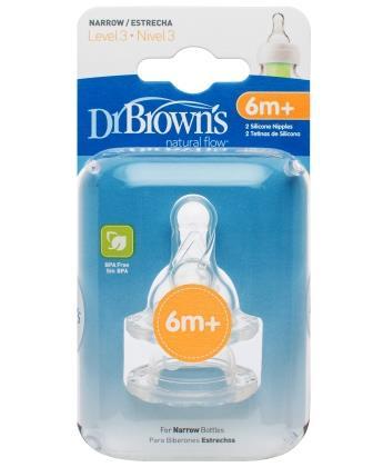 Набор силиконовых сосок Dr Brown's для стандартных бутылочек для детей от 6 месяцев, 3-ий уровень (2 шт)