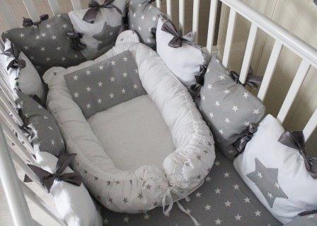 """Комплект в кроватку """"Звездочка"""",(5 предметов): подушка, наволочка, простынь на резинке, одеяло , бортики."""