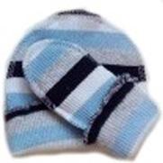 Комплект для мальчика голубой  из кашкорсе шапочка и пинетки, рост  38 см, 42 см, 46 см, 50 см