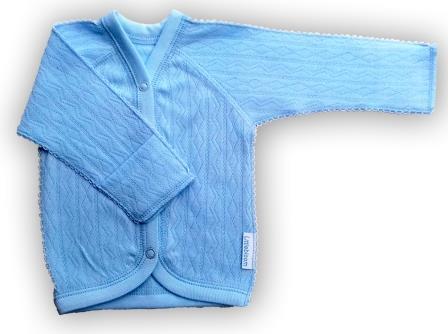 """Кофточка """"Ажур"""" голубая, интерлок, шов мережка, на рост ребенка 42 см, 46 см, 50 см"""