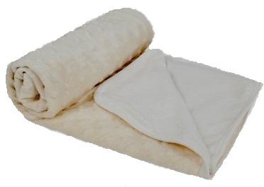 """Плед  для новорожденного из вельбоа на хлопковой  подкладке """"Зайка моя"""" (молочный), 75x110 см"""