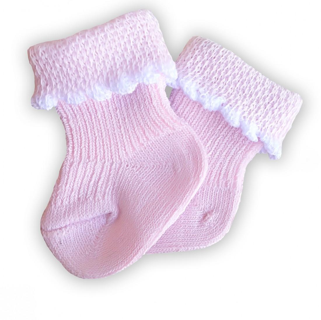 Носочки  розовые, 100% хлопок, 3-4 см, 4-6 см