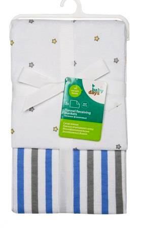 """Пеленки фланелевые Babydays  """"Звездочки"""" голубые 2 шт. в подарочной упаковке, 76х76 см"""