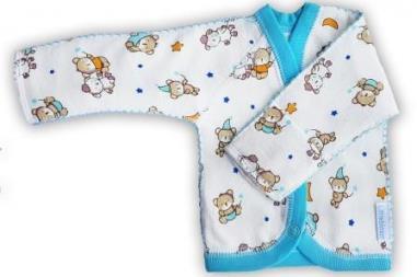 """Кофточка """"Спокойной ночи"""" голубая из футера, шов мережка, теплая,  рост ребенка  42 см, 46 см, 50 см"""