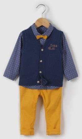 Комплект: рубашка, жилет и брюки, на рост 50-52см,  R mini  , Франция