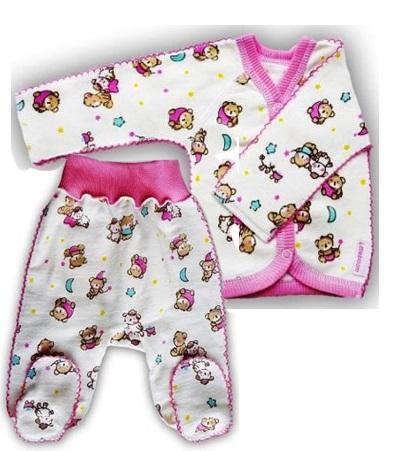 """Комплект из футера  кофточка и штанишки  """"Спокойной ночи"""" розовый, теплый,  на рост 46 см, 50 см"""