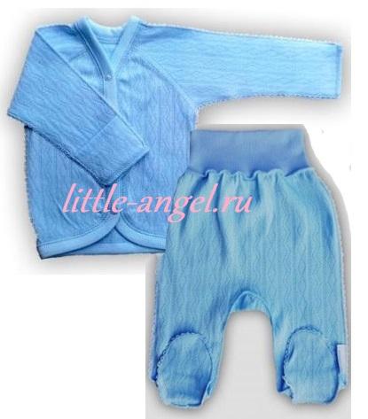 """Комплект """"Ажур"""" Голубой  из интерлока: распашонка и штанишки со следом,  на рост 42 см, 46 см, 50 см"""