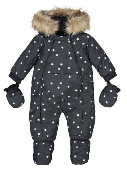 """Комбинезон с капюшоном с рисунком """"Звезды"""", темно-синий, утепленный, на рост 50-52 см, R essentiel, Франция"""