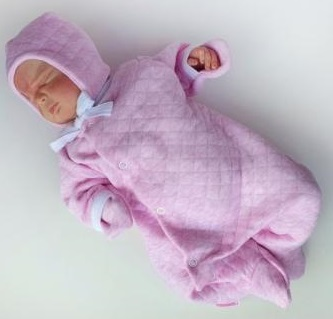 """Комплект """"Розовый""""  утепленный из капитония:  комбинезон и шапочка, на рост 46 см, 50 см"""