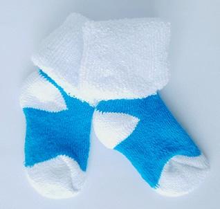 Носочки  махровые,  бирюза  с белым,  3-4 см, 6-8 см