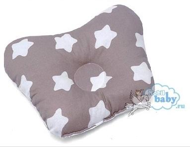 Ортопедическая подушка-бабочка для новорожденного, кофейные звезды, 0-6 мес.