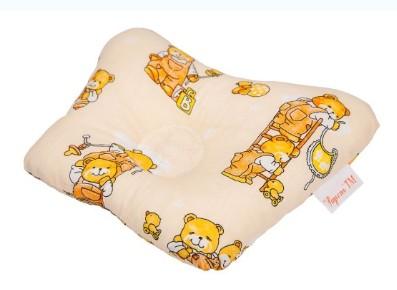 Ортопедическая подушка-бабочка для новорожденного, мишка на бежевом, 0-6 мес.