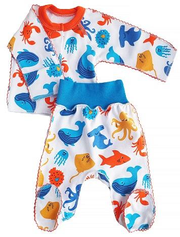"Комплект из интерлока кофточка и штанишки со следом   ""Океан"", шов мережка, на рост 42 см, 46 см, 50 см"