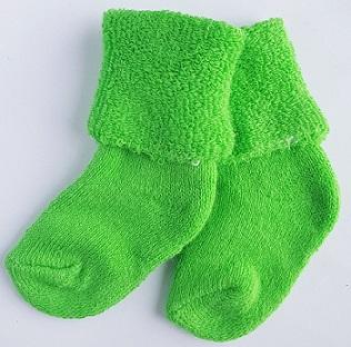 Носочки  махровые,салатовые, длина стопы 4-6 см
