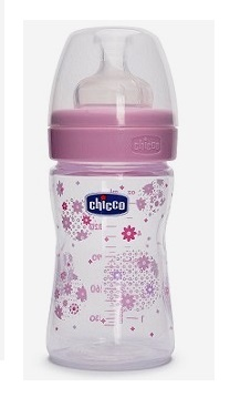 Бутылочка Chicco Well-Being Girl с силиконовой соской 150 мл , розовая,  0 мес+