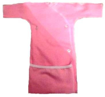 Распашонка-рубашка с длинным  рукавом розовая из футера на рост 38 см
