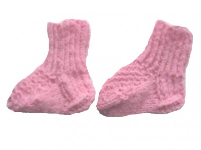 Носочки вязаные розовые, 100% мериносовая шерсть