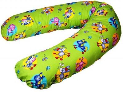 Подушка-бумеранг для беременных и кормящих, лошадки и коровки на зеленом,190*40 см