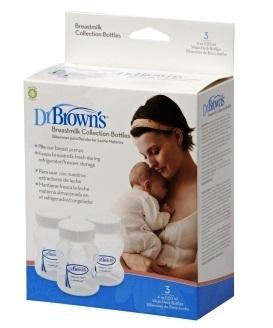 Бутылочки-контейнеры Dr.Brown's для сбора и хранения грудного молока 120 мл, 3шт