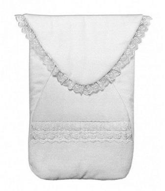 Конверт  белый утепленный из велюра для недоношенных на рост 50 см