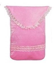 Конверт  розовый утепленный из велюра для недоношенных на рост 50 см