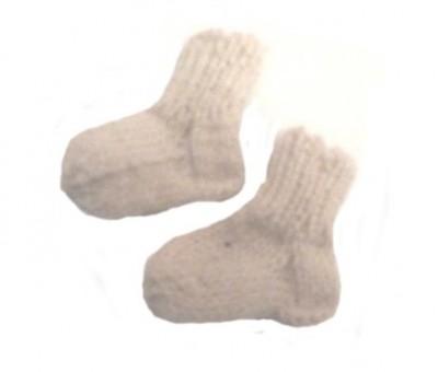 Носочки вязаные белые, 100% мериносовая шерсть, 6 см