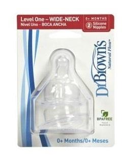 Набор силиконовых сосок Dr Brown's для бутылочек с широким горлышком (от 0 месяцев, 2 шт.) 1-ый уровень
