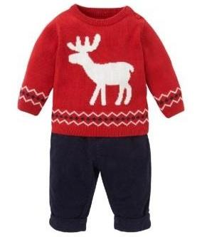 Комплект для мальчика: вязаный джемпер с рисунком оленя и вельветовые  брюки, 3-6 мес,Mothercare