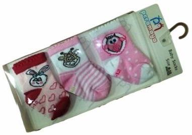 Носочки  в упаковке розовые, 0-1 мес., 3 шт., Pera Maya, Турция