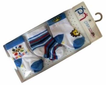 Носочки  в упаковке  для мальчика голубые, 0-1 мес., 3 шт., Pera Maya, Турция