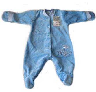 Комбинезон из велюра голубой с вышивкой  на рост 46 см