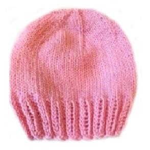 Шапочка вязаная цвет коралл 100%  мериносовая шерсть на рост 38 см, 42 см,  46 см, 50 см