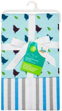"""Пеленки фланелевые Babydays  """"Птички"""" голубые 2 шт. в подарочной упаковке, 76х76 см"""