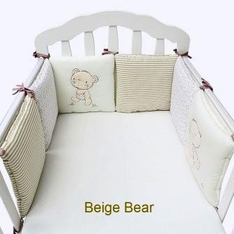 """Комплект плюшевых подушек бамперов  с вышивкой """"Бежевый Медведь"""" в кроватку,  6 шт."""
