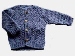 Кофточка вязаная на пуговичках  голубая,100% мериносовая шерсть, на рост 46 см,  50 см