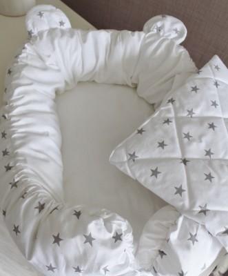 "Гнездышко кокон babynest серый ""Звезды"" с ушками  для младенца  + одеяльце"