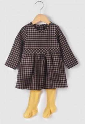 Комплект: платье и колготки, набивной рисунок, на рост 50 см,  R mini , Франция