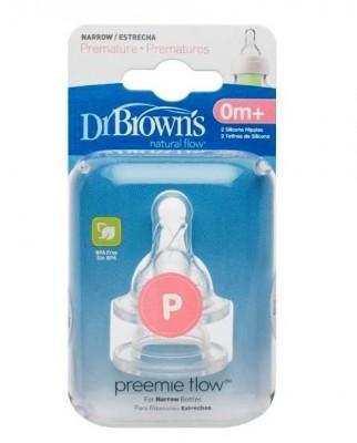 Соски для стандартных бутылочек  Dr. Brown для недоношенных детей в футляре, 0-ой уровень , 2 шт.