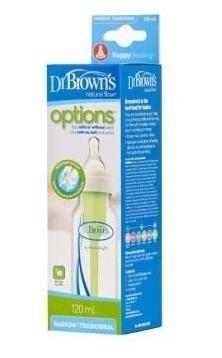 Бутылочка Dr Brown's стандартная Options с узким горлышком  120 мл, соска 1 уровня