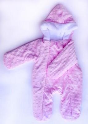 """Комбинезон  """"Уют""""  Розовый  утепленный с капюшоном,  двухслойный, на рост 46 см"""