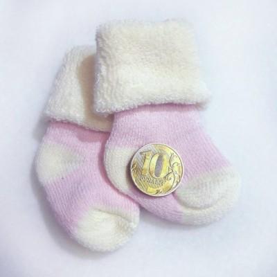 Носочки  махровые, розовые, р. 3-4 см