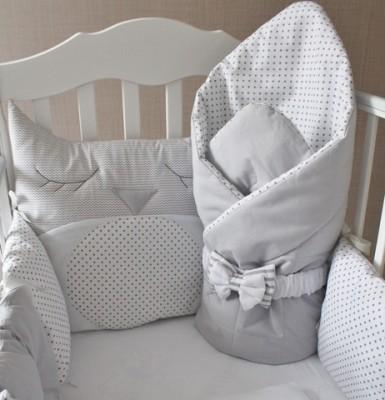 """Комплект в кроватку """"Совунья"""" (5 предметов): подушка, наволочка, простынь на резинке, одеяло , бортики."""