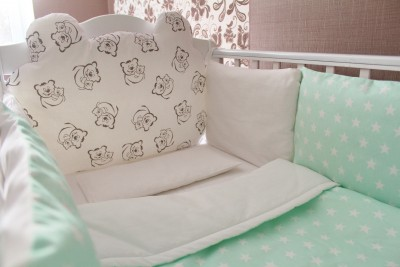 Комплект в кроватку Teddy mint,   (5 предметов): подушка, наволочка, простынь на резинке, плед, бортики-подушки.