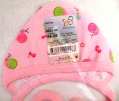Чепчик из интерлока розовый с рисунком. Рост ребенка 38 см
