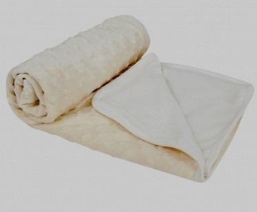 """Плед из вельбоа на подкладке """"Зайка моя"""" (молочный), 75x110 см"""